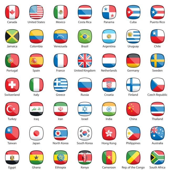 International Flags Buttons