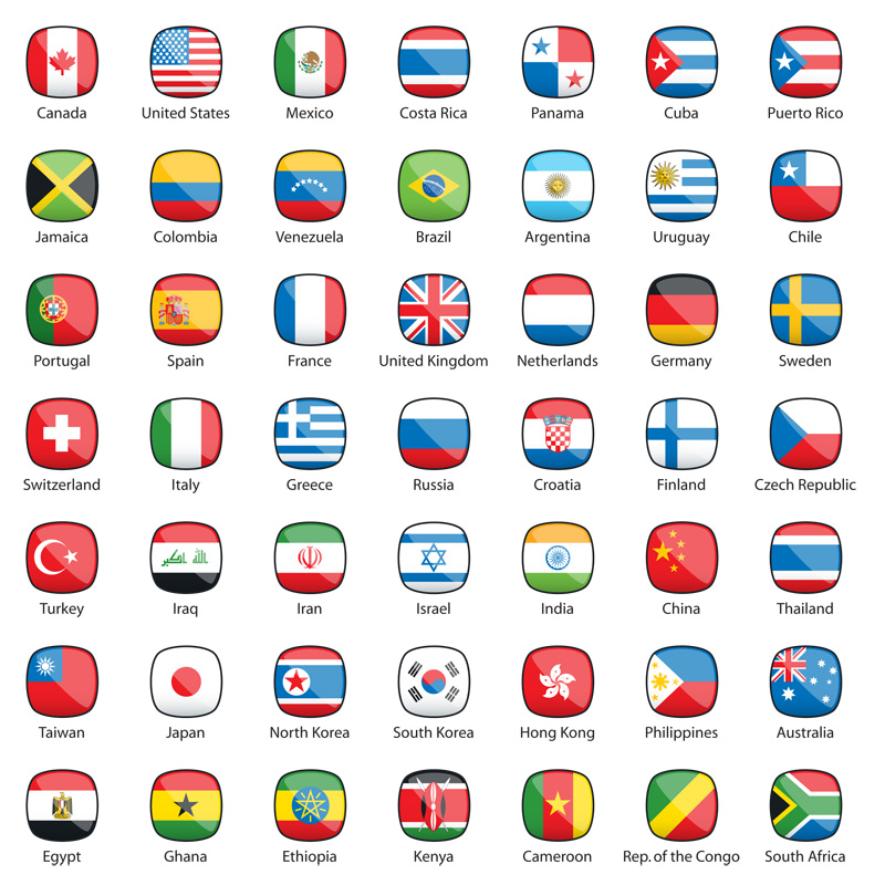 International Flags Buttons