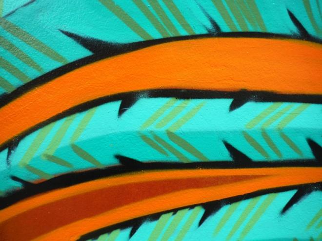 graffiti detail-feathers