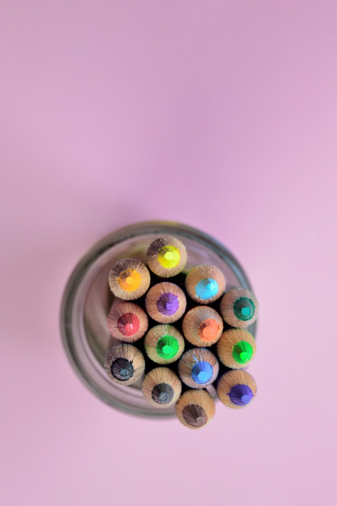 color pencils in a glass jar