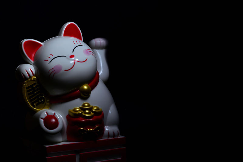 maneki neko on dark background