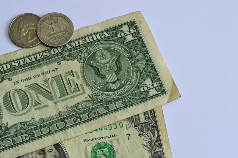 coins and dollar bills