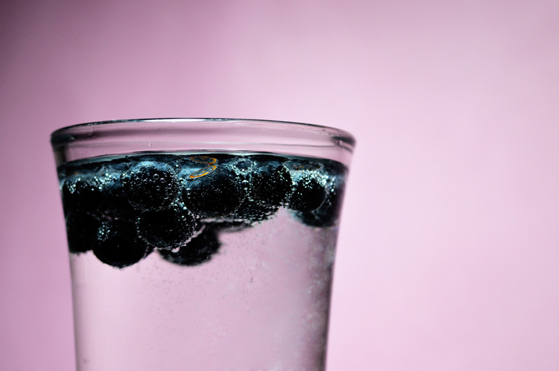 blueberries and mineral water
