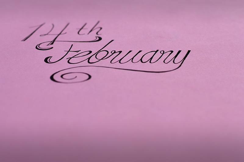 14th februarylettering on pink paper