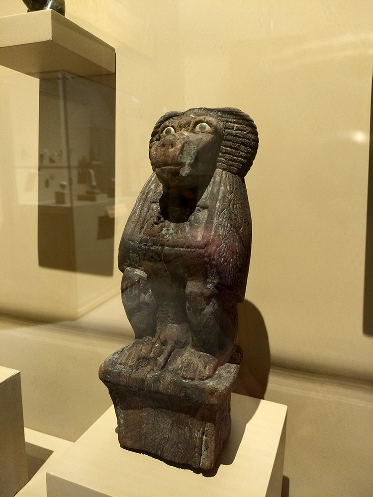 egyptian wooden figure of baboon